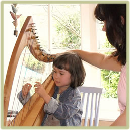 teaching harp lessons to beginners